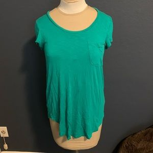 Green top from Anthropologie